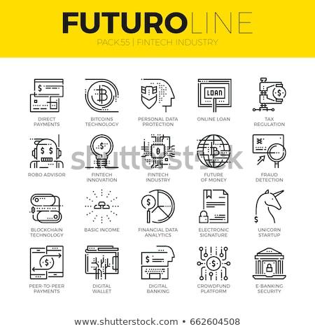 Digital vector line icons set blockchain pack Stock photo © frimufilms