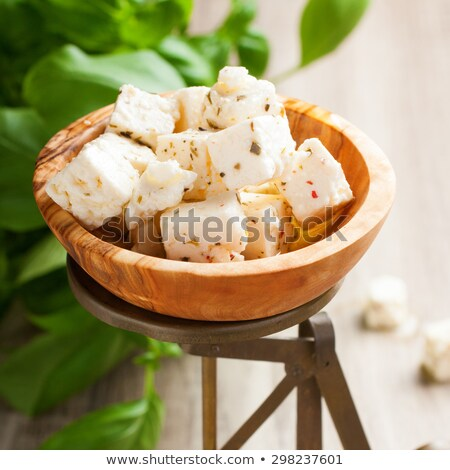Cubed feta cheese on old scales stock photo © Melnyk