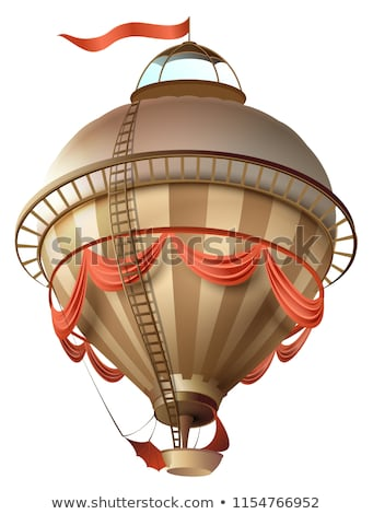Balloon retro blimp ship with flag isolated on white Stock photo © orensila