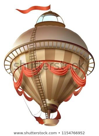 Balon retro sterowiec statku banderą odizolowany Zdjęcia stock © orensila