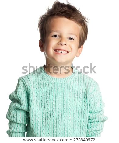 Lebarnult fiú fehér illusztráció mosoly szemek Stock fotó © bluering
