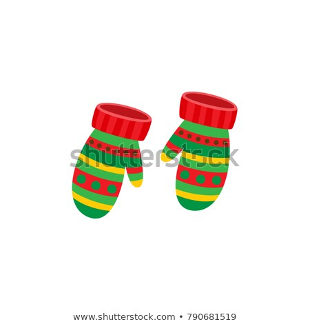 Knitted striped cartoon mitten in red and white color isolated on white background. Vector cartoon c Stock photo © Lady-Luck