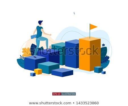 ビジネスマン キャリア はしご 作業 ノートパソコン ビジネス ストックフォト © Elnur