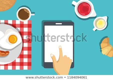 Breakfast set up mock up template. Breakfast of fried eggs and bacon with coffee and butter roll. Ve Stock photo © makyzz