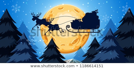 silhoutte of sleigh night scene stock photo © bluering
