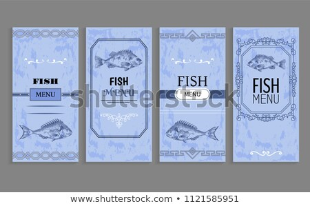 Template of Fish Menu Sample with Vintage Frame Stock photo © robuart