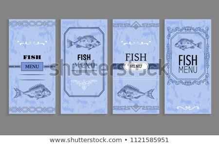 prêmio · peixe · ícone · frutos · do · mar · comida · etiqueta - foto stock © robuart