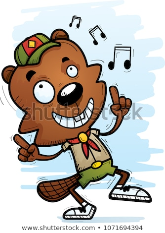 cartoon male beaver scout dancing stock photo © cthoman