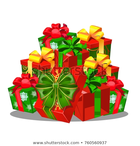 Gift box with a green bowknot with wrapped paper red color isolated on a white background. Vector ca stock photo © Lady-Luck