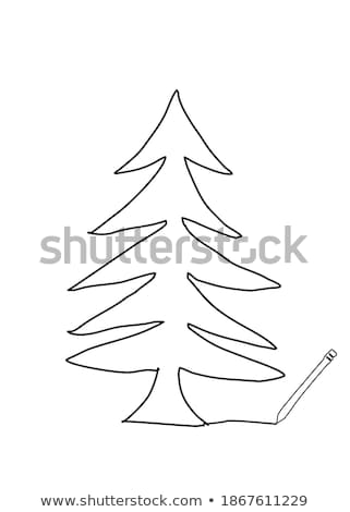Winter sketch with space for your text on the background of snowy trees and old wrought gates in the Stock photo © Lady-Luck