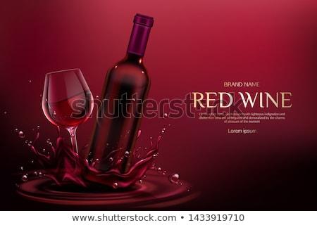 wino · czerwone · plakat · butelki · merlot · szkła · kieliszek - zdjęcia stock © robuart