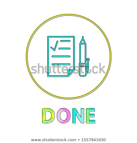 Done Round Linear Icon with Check List and Pen Stock photo © robuart