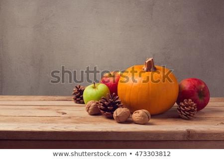 яблоко · плодов · чашку · кофе · древесины · копия · пространства - Сток-фото © karandaev