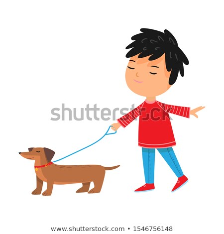 Brown Dog with Red Collar Cartoon Character Poster Stock photo © robuart