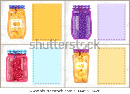 Preserved Berries and Fruit in Glasses Poster Stock photo © robuart