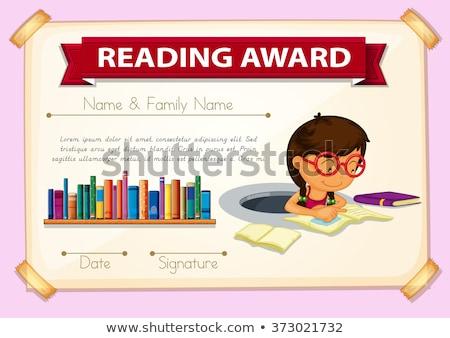 Sertifika şablon okuma ödül örnek kitaplar Stok fotoğraf © colematt