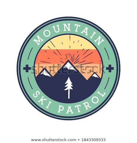 Snowboarding vector badge - Wild mountain explorer text. With snowboarder, mountains and trees. Vint Stock photo © JeksonGraphics