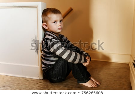 Upset problem child close to the staircase concept for bullying, depression stress Stock photo © Lopolo