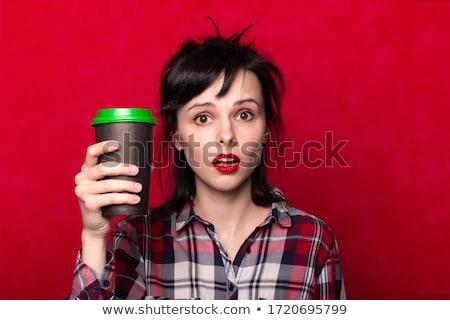 девушки рубашку Кубок капучино Сток-фото © ruslanshramko