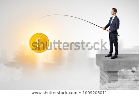 Stock photo: Businessman fishing currency from the city concept