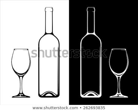 Copo de vinho garrafa estilizado etiqueta vinho projeto Foto stock © blaskorizov