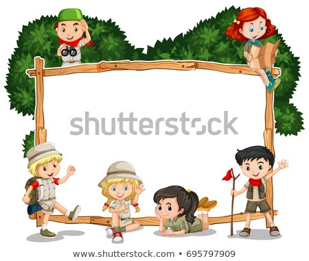 Tábla sablon gyerekek szafari gyermek tájkép Stock fotó © colematt