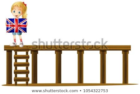 Lány zászló Anglia színpad illusztráció boldog Stock fotó © colematt
