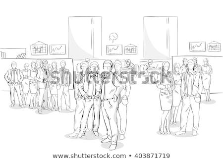 эскиз служащих прибыль на акцию 10 служба человека Сток-фото © netkov1