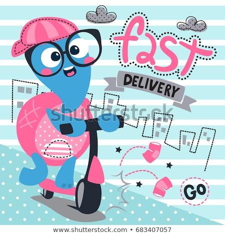 boldog · teknős · rúgás · moped · illusztráció · terv - stock fotó © colematt