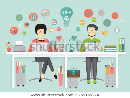 Nő programozós munka folyamat lány szemüveg Stock fotó © jossdiim