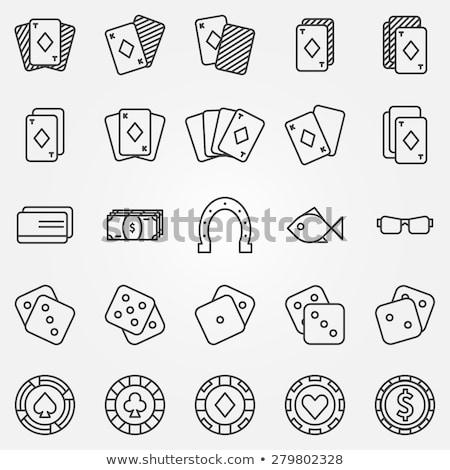 póker · vonal · terv · ikon · szett · modern · vektor - stock fotó © anna_leni
