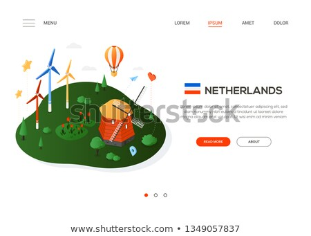 Bezoeken Nederland moderne kleurrijk isometrische web Stockfoto © Decorwithme