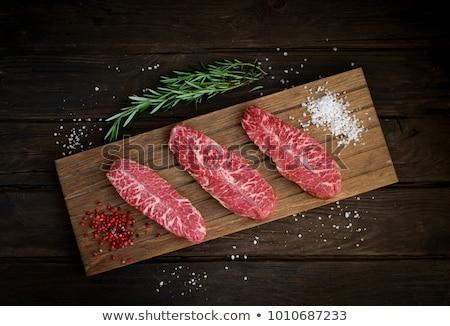 Haut lame steak grillés planche à découper vue Photo stock © karandaev
