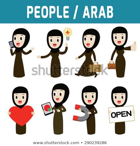 Arab vrouw permanente tablet vector geïsoleerd Stockfoto © NikoDzhi