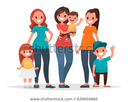 family mother and son set vector illustration stock photo © robuart