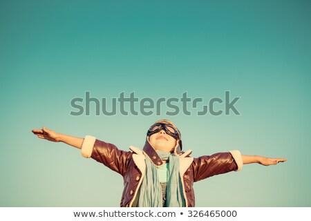 Stok fotoğraf: Uçan · mavi · gözlük · reklam · fotoğraf · gölge