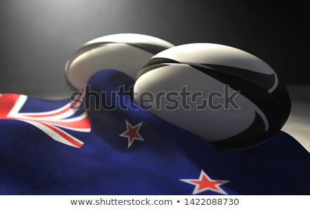 New Zealand Flag And Rugby Ball Pair Stock photo © albund