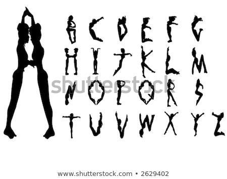 Meisjes alfabet silhouet doopvont aantrekkelijk meisje vrouw Stockfoto © cidepix