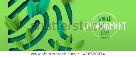 Environment Day card of green leaf fingerprint Stock photo © cienpies