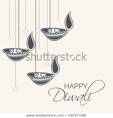 hanging diya lamps with sparkles for diwali festival Stock photo © SArts