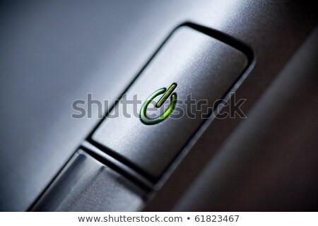 Illuminated power button icon - off-on knob, metal push button Stock photo © Winner