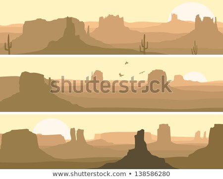 Desert landscape with eagle, cactus and sun. Vector Stock photo © barsrsind