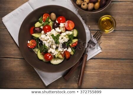 Hagyományos görög saláta feta olajbogyók zöldségek Stock fotó © furmanphoto