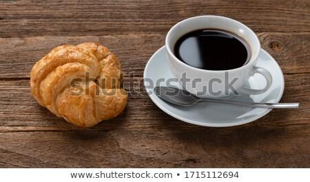 Csésze cappucchino kávé croissantok fa asztal felső Stock fotó © boggy