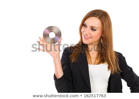 új szoftver nő tart CD merevlemez Stock fotó © Lopolo