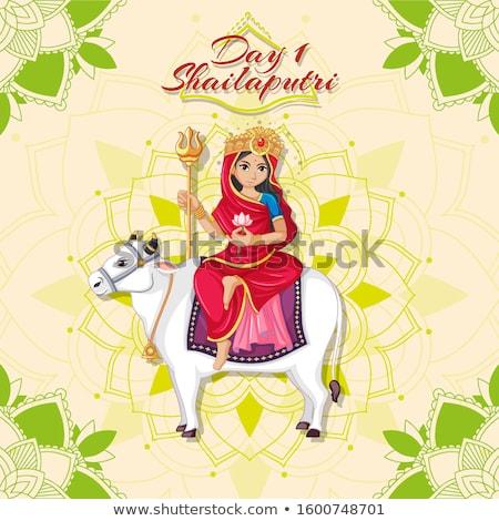 Navarati festival poster design with goddess on cow Stock photo © bluering