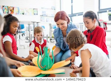 Mädchen rot Schuluniform Illustration Schule glücklich Stock foto © bluering