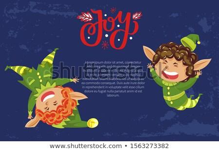 Hiver joie drôle elf héros carte postale Photo stock © robuart