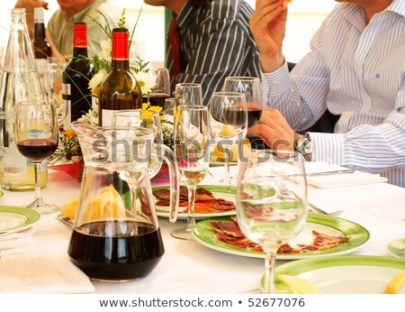 People Eat and Drink on Banquet, Home Reception Stock photo © robuart