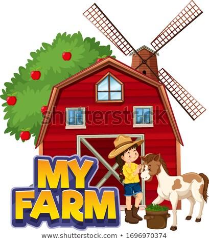 Fuente diseno palabra mi granja rojo Foto stock © bluering
